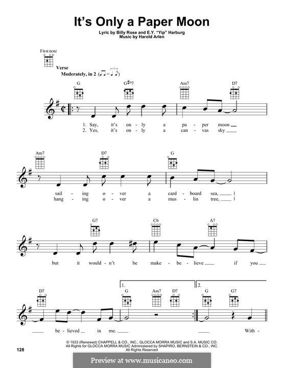 It's Only a Paper Moon: For ukulele by Harold Arlen