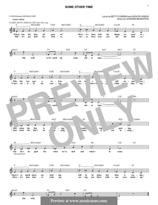 Some Other Time (from On The Town) : For keyboard by Leonard Bernstein