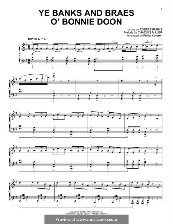 Ye Banks and Braes: For piano by folklore