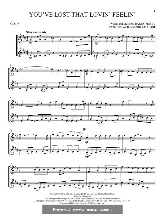 You've Lost That Lovin' Feelin': For two violins by Barry Mann, Cynthia Weil