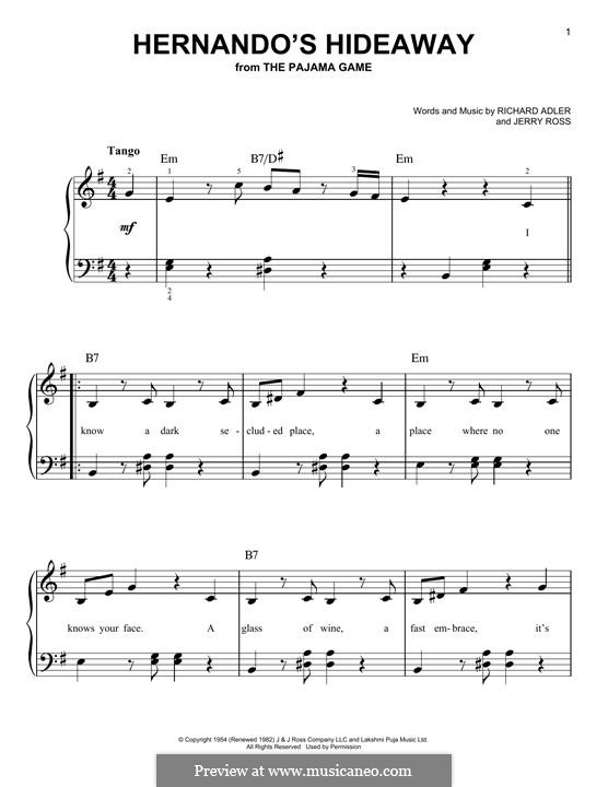 Hernando's Hideaway: For easy piano by Jerry Ross, Richard Adler
