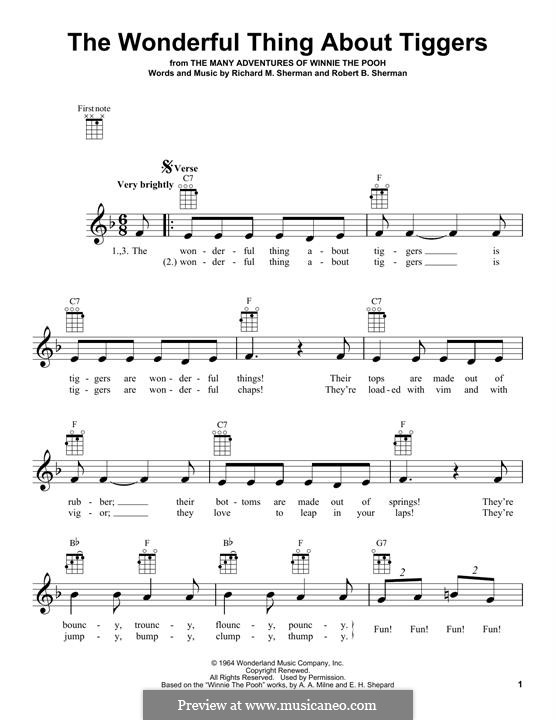 The Wonderful Thing About Tiggers: For ukulele by Richard M. Sherman, Robert B. Sherman