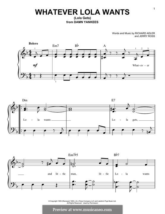 Whatever Lola Wants (Lola Gets): For piano by Jerry Ross, Richard Adler