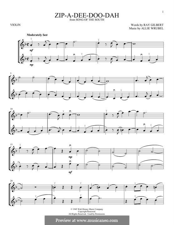 Zip-A-Dee-Doo-Dah: For two violins by Allie Wrubel