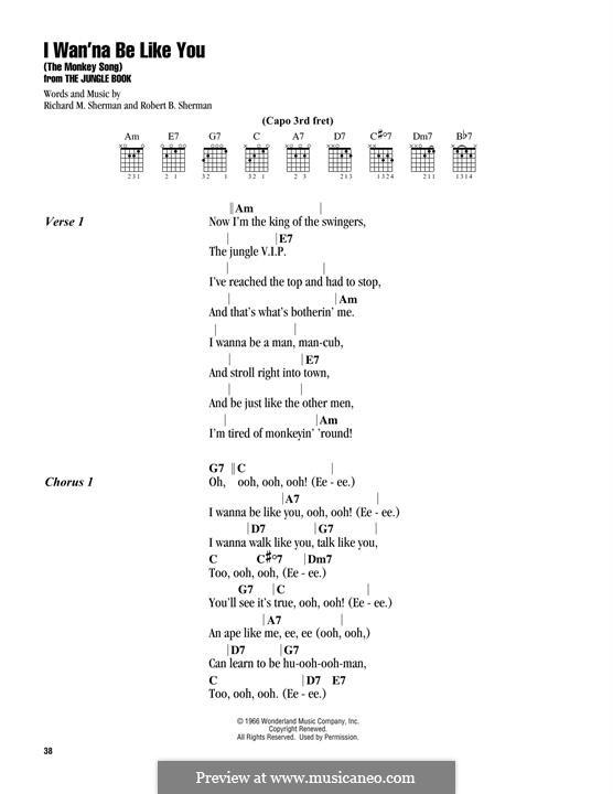 I Wanna Be Like You (The Monkey Song): For guitar by Richard M. Sherman, Robert B. Sherman