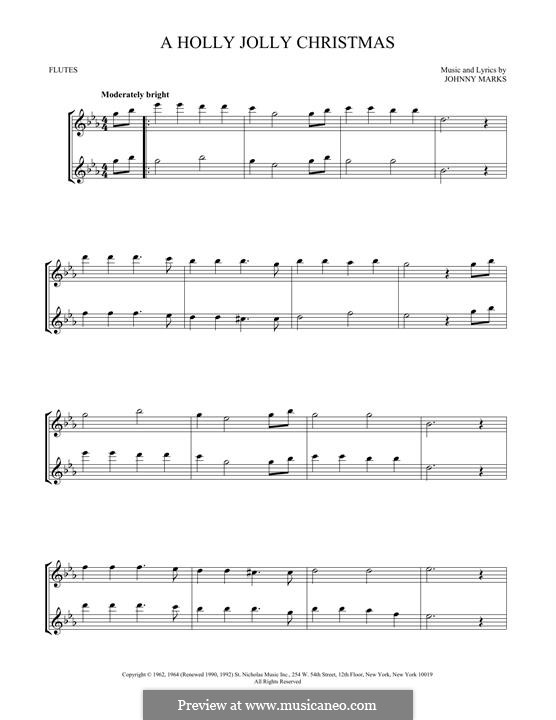 A Holly Jolly Christmas: For two flutes by Johnny Marks
