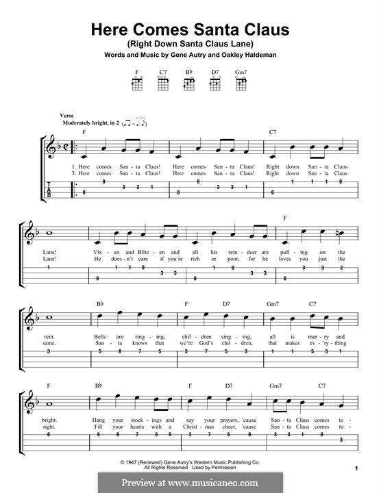 Here Comes Santa Claus (Right Down Santa Claus Lane): For ukulele by Gene Autry, Oakley Haldeman