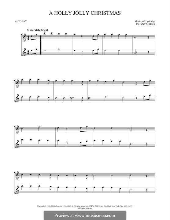 A Holly Jolly Christmas: For two alto saxophones by Johnny Marks
