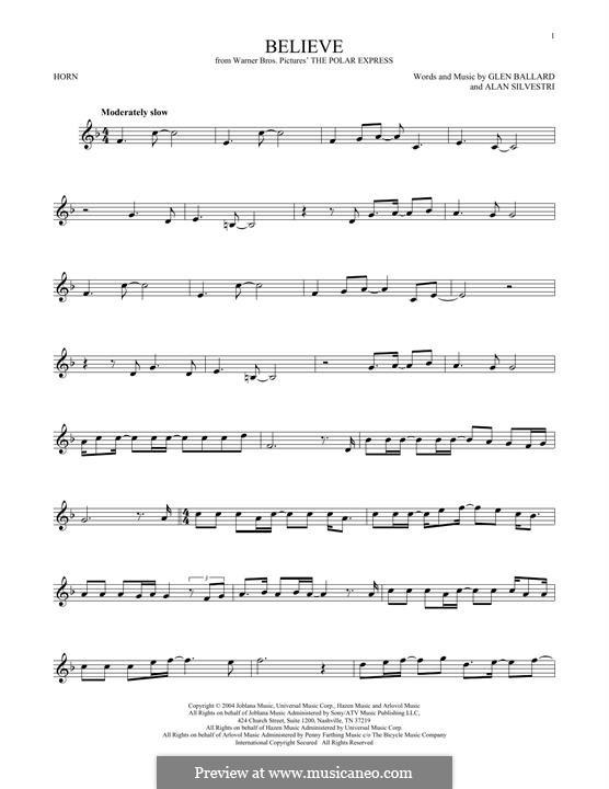 Believe (Josh Groban): For horn by Alan Silvestri, Glen Ballard