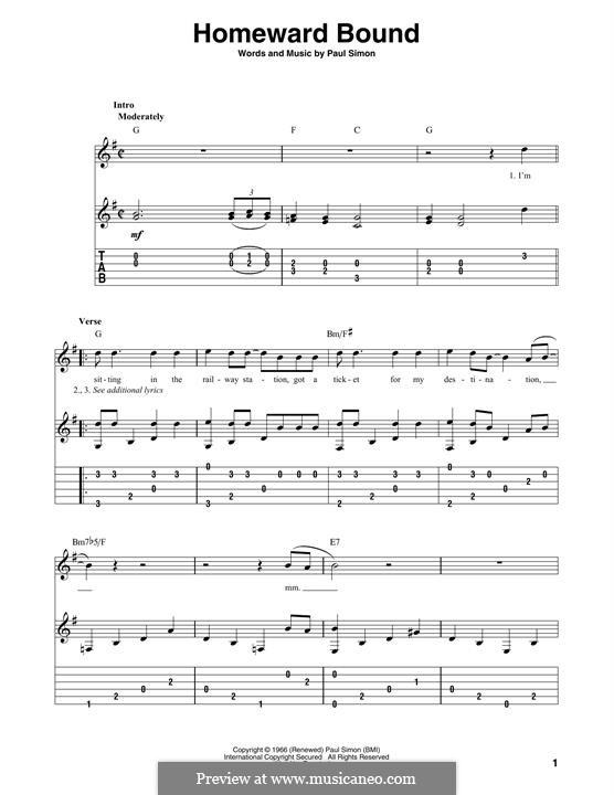 Homeward Bound (Simon & Garfunkel): For guitar by Paul Simon