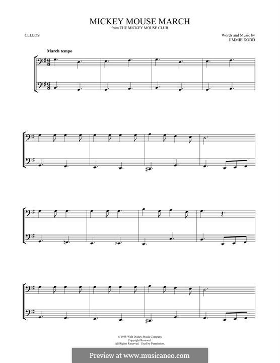 Mickey Mouse March: For two cellos by Jimmie Dodd