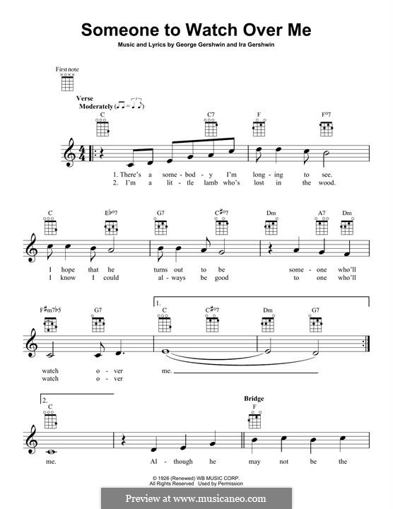 Someone To Watch Over Me (from Oh, Kay!): For ukulele by George Gershwin