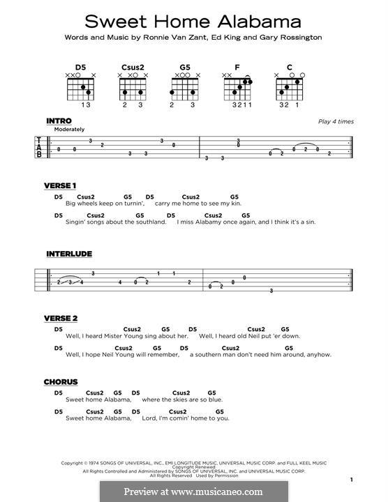 Sweet Home Alabama (Lynyrd Skynyrd): For guitar by Ed King, Gary Rossington, Ronnie Van Zant