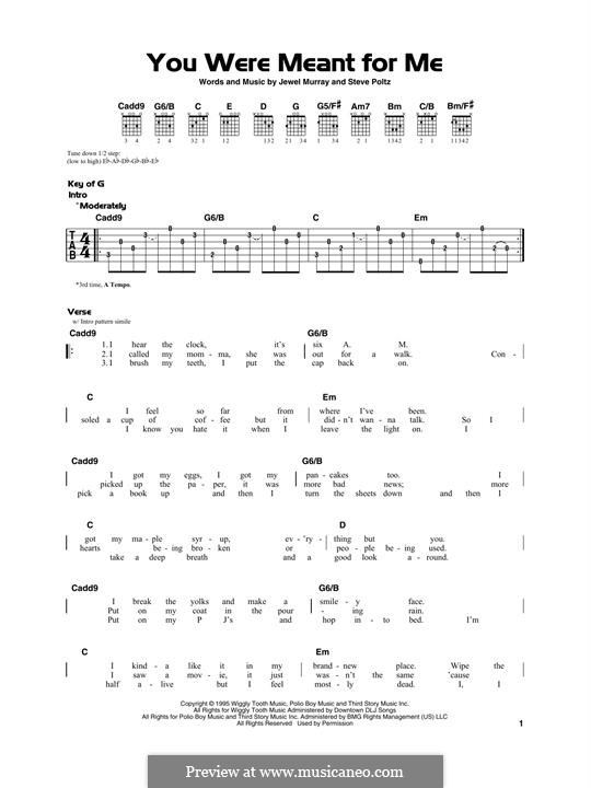 You Were Meant for Me (Jewel): For guitar by Jewel Kilcher, Steve Poltz