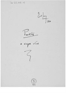Partita a cinque voci: Full score by Ernst Levy