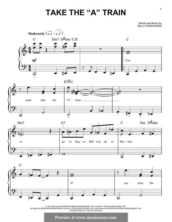 Take the 'A' Train (Duke Ellington): For piano by Billy Strayhorn
