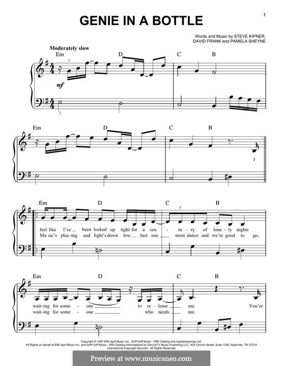 Genie in a Bottle (Christina Aguilera): For piano by David Frank, Pamela Sheyne, Stephen Alan Kipner