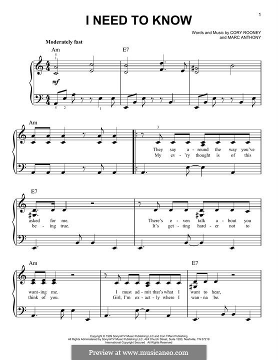 I Need to Know (Marc Anthony): For easy piano by Cory Rooney