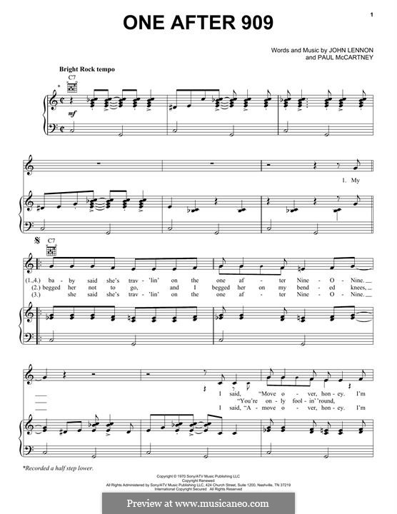 One After 909 (The Beatles): For voice and piano (or guitar) by John Lennon, Paul McCartney