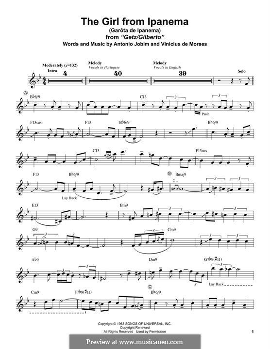 The Girl from Ipanema (Garota de Ipanema): For alto saxophone by Antonio Carlos Jobim