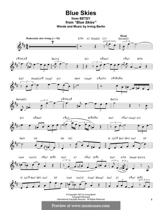 Blue Skies: For alto saxophone by Irving Berlin