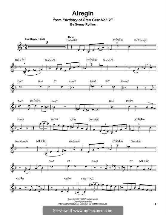 Airegin (John Coltrane): For alto saxophone by Sonny Rollins