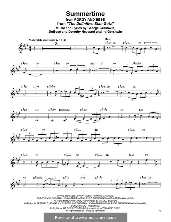 Summertime: For alto saxophone by George Gershwin