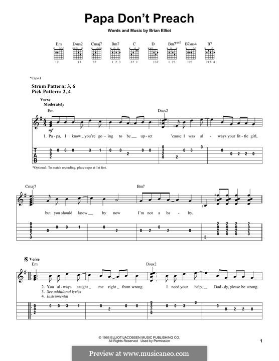 Papa Don't Preach (Madonna): For guitar by Brian Elliot
