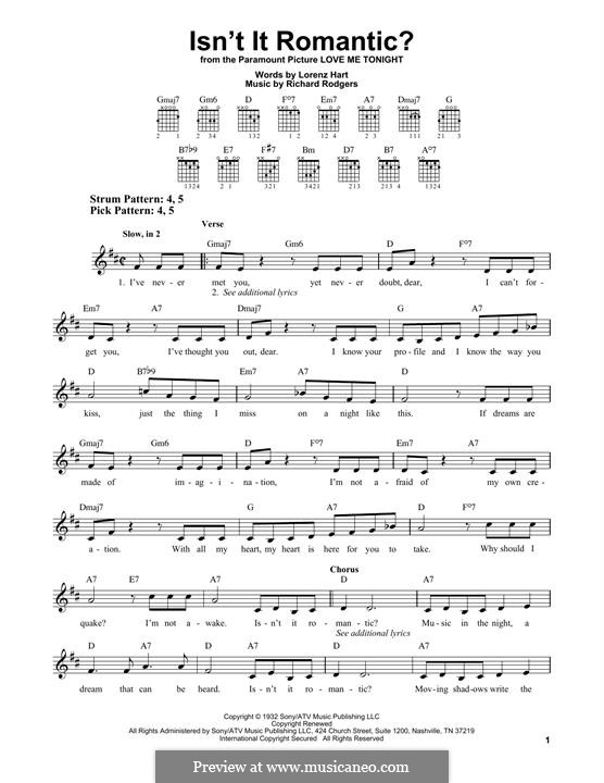 Isn't it Romantic?: For guitar by Richard Rodgers