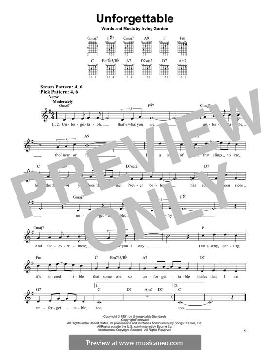 Unforgettable: For guitar by Irving Gordon