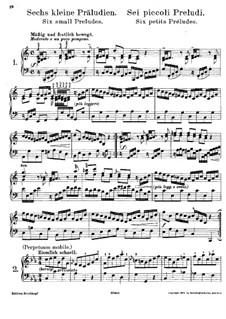 Six Little Preludes, BWV 933-938: For piano by Johann Sebastian Bach