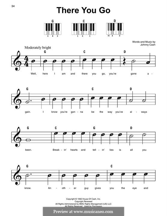 There You Go: For piano by Johnny Cash
