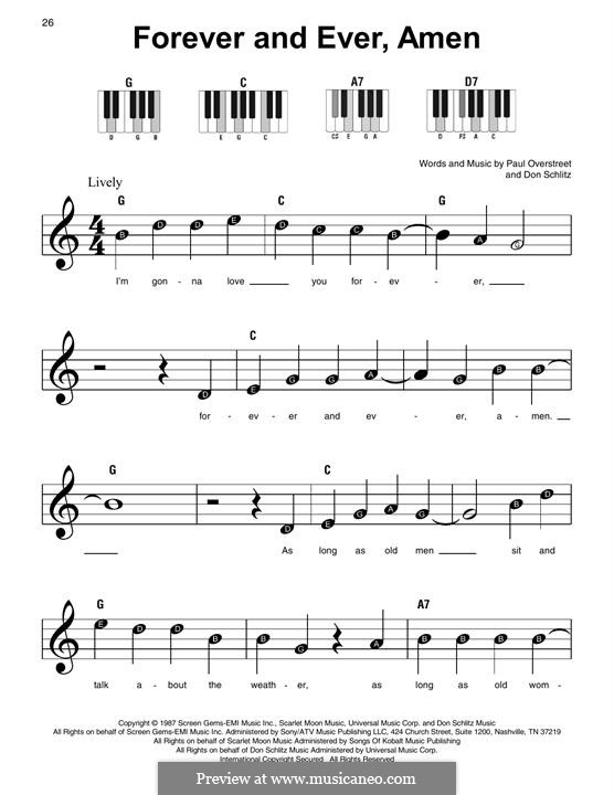 Forever and Ever, Amen (Randy Travis): For easy piano by Don Schlitz, Paul Overstreet