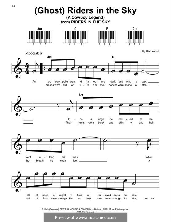 (Ghost) Riders in the Sky (A Cowboy Legend): For piano by Stan Jones