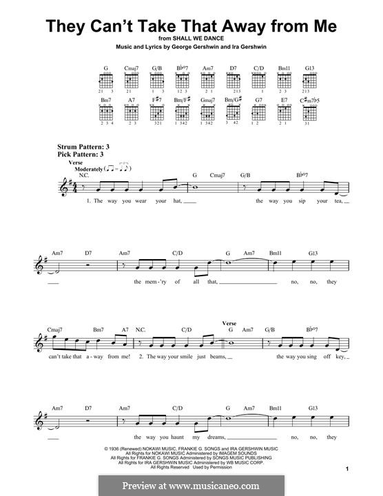 They Can't Take That Away from Me: For guitar by George Gershwin