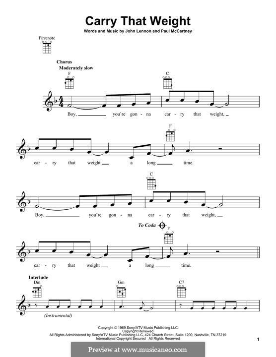 Carry That Weight (The Beatles): For ukulele by John Lennon, Paul McCartney