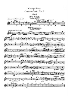 First Suite: Oboes and cor anglais parts by Georges Bizet