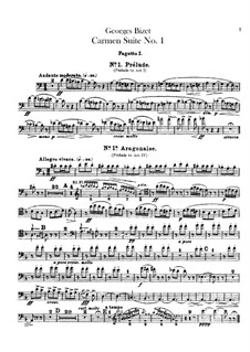 First Suite: Bassoons parts by Georges Bizet