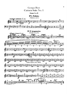 First Suite: French horns parts by Georges Bizet