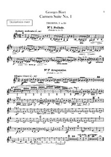 First Suite: Trumpets parts by Georges Bizet