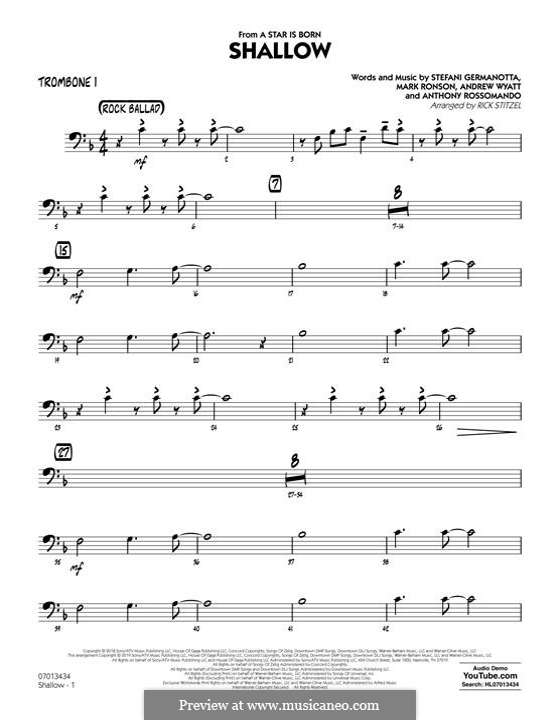 Jazz Ensemble version (arr. Rick Stitzel): Trombone 1 part by Andrew Wyatt, Anthony Rossomando, Mark Ronson, Stefani Germanotta