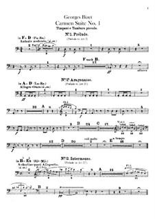 First Suite: Percussion parts by Georges Bizet