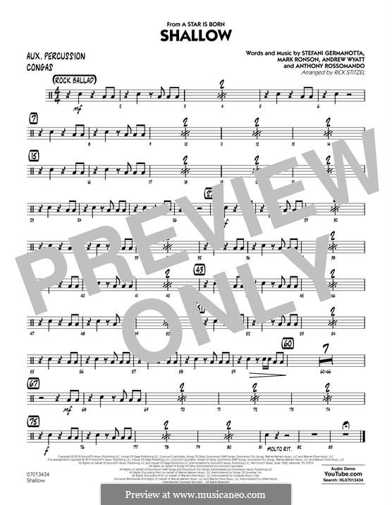 Jazz Ensemble version (arr. Rick Stitzel): Aux Percussion part by Andrew Wyatt, Anthony Rossomando, Mark Ronson, Stefani Germanotta