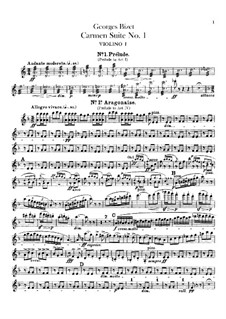 First Suite: Violins parts by Georges Bizet