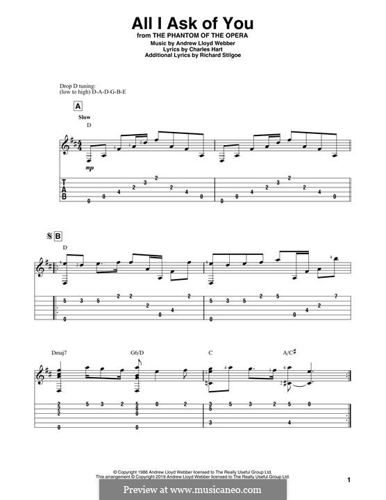 All I Ask of You: For guitar by Andrew Lloyd Webber