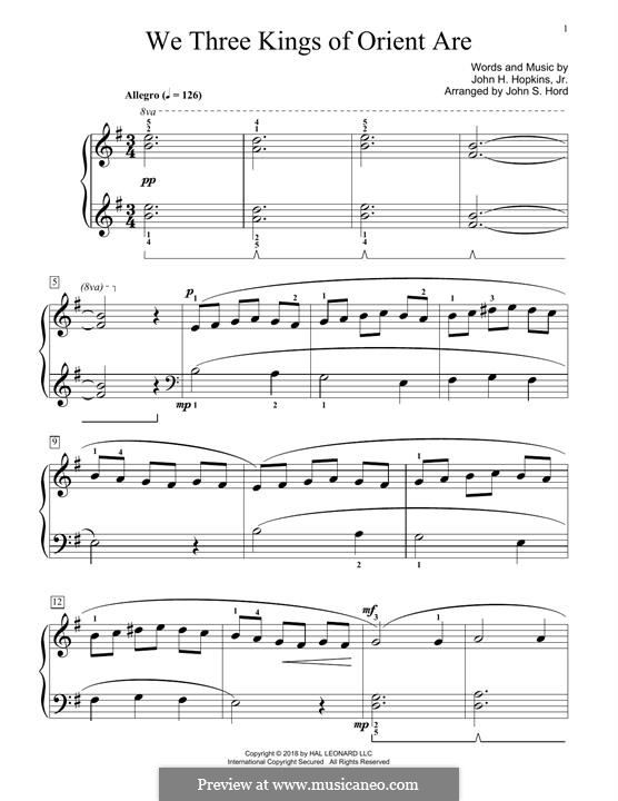 We Three Kings of Orient are, for Piano: For a single performer by John H. Hopkins Jr.