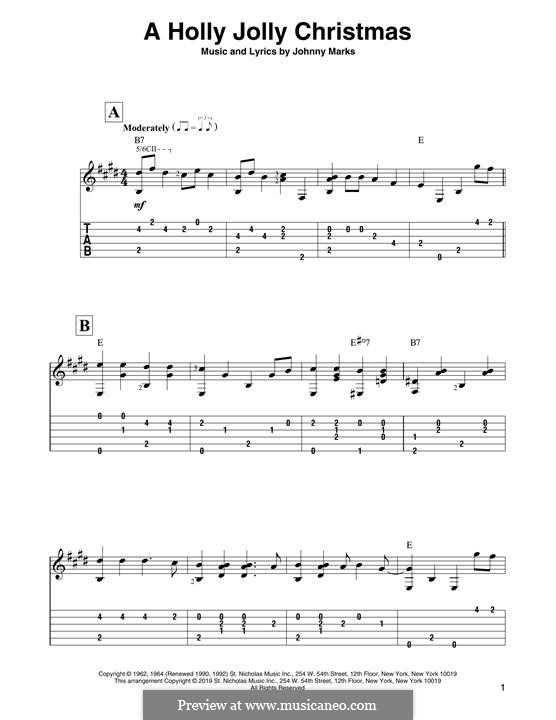 A Holly Jolly Christmas: For guitar by Johnny Marks