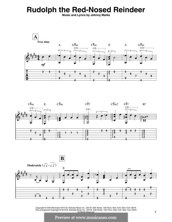 Rudolph the Red-Nosed Reindeer: For guitar by Johnny Marks