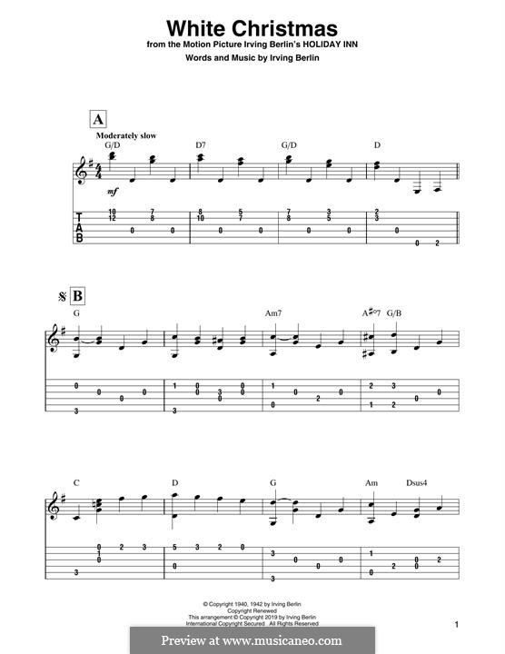 White Christmas. Instrumental version: For guitar by Irving Berlin