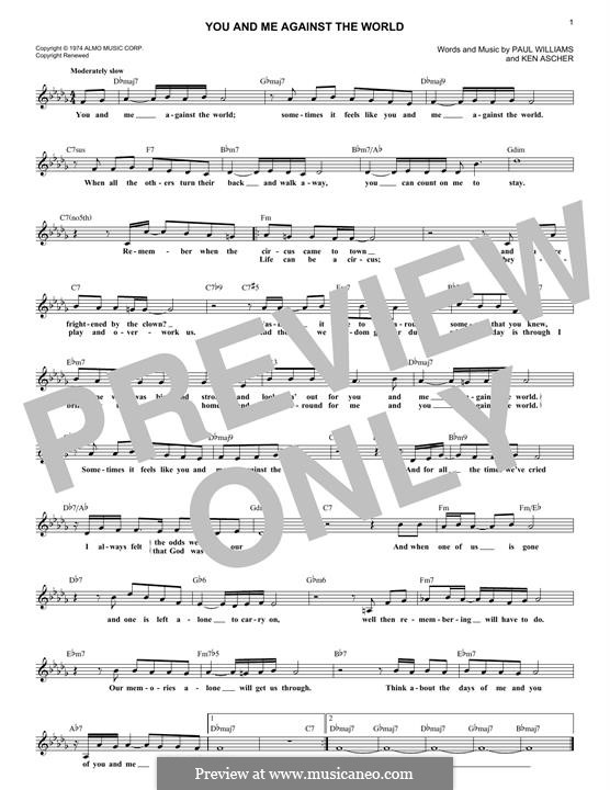 You and Me Against the World (Helen Reddy): For keyboard by Paul H. Williams, Kenneth L. Ascher